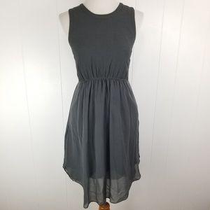 Madewell Gray Silk Crepe Lakeshore Mini Dress